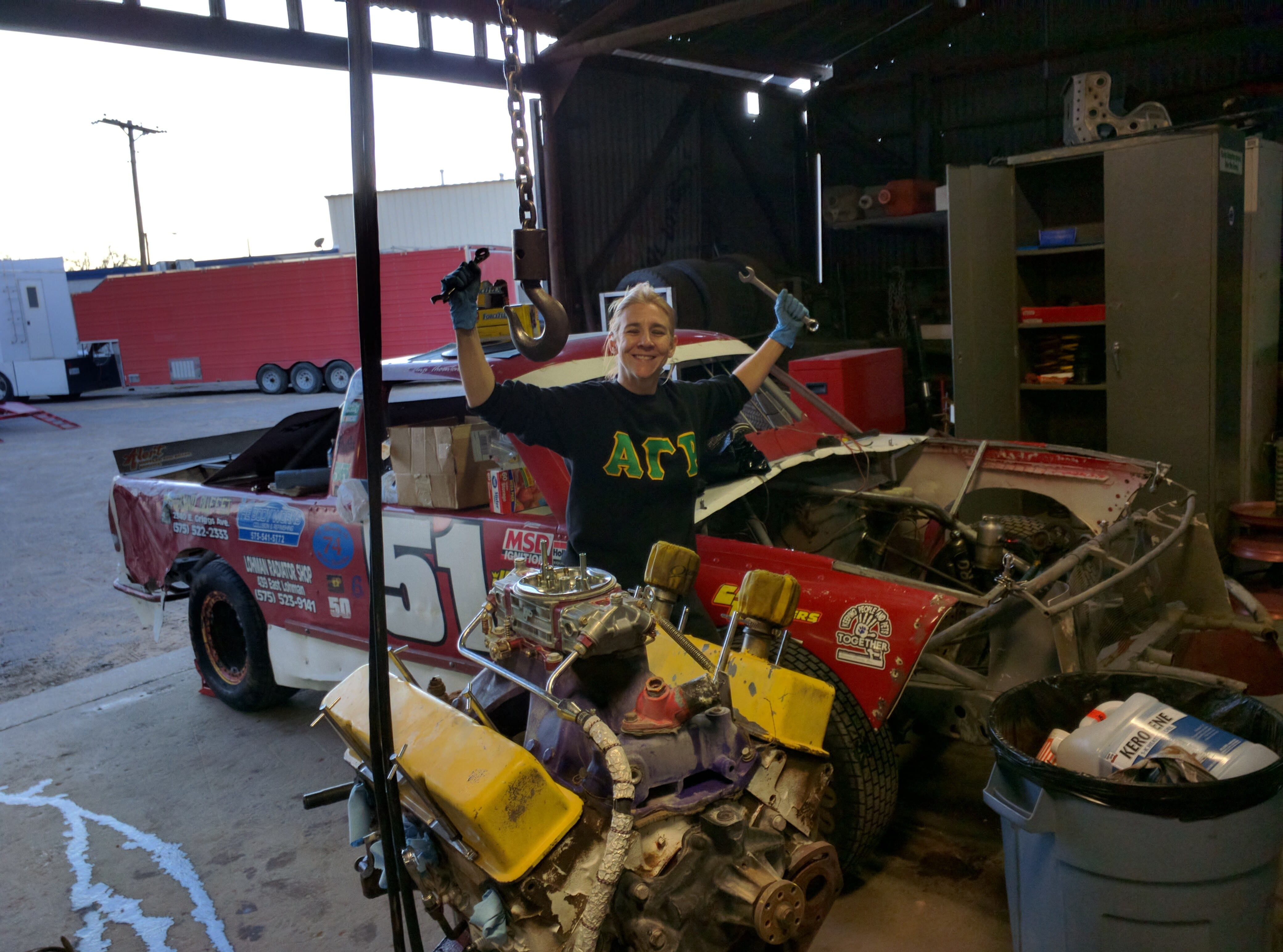 Safety Equipment, Anji Thornton, Super Truck Racing, Circle Track Racing, Garage, Truck, Engine